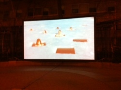 Outdoor screening of the work of Nordic Outbreak artist, Dan Lestander, at Dag Hammarskjold Plaza